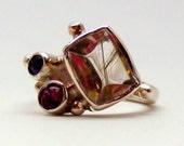 Rutilated Quartz Garnet and Amethyst Silver Glamorous Ring
