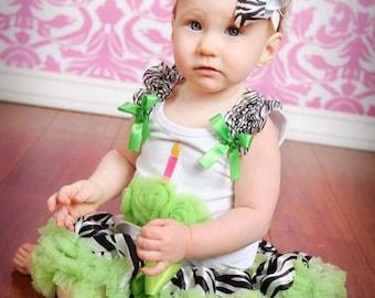 Sale......apple green zebra print pettiskirt nb  12 mon. only