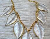 Glass Leaf Vintage Necklace