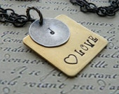 RESERVED Initial Love stamped pendant necklace 20 inch