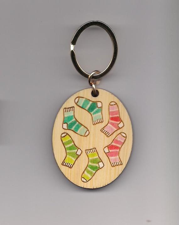 Sock Swap Kitchener Stitch Tag Bamboo Keychain Knitters Helper
