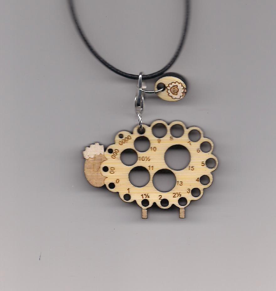 Knitting Needle Gauge Necklace : Baa bamboolery needle gauge pendant knitting sizer