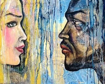 Sale, Original Acrylic Painting, Rain, 24 x36 inches