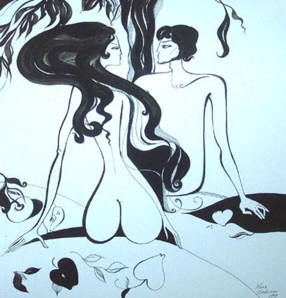 Original Drawing, Adam and Eve