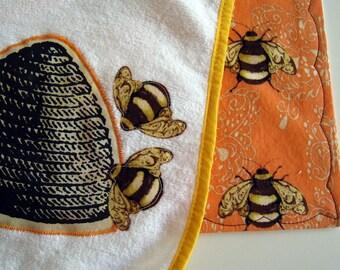 French Bees bib and burp cloth set