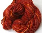 Red Hots -  handdyed, handspun single ply BFL silk blend yarn