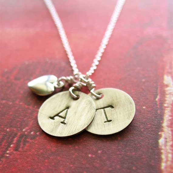 Double Initial Heart Charm Sterling Necklace