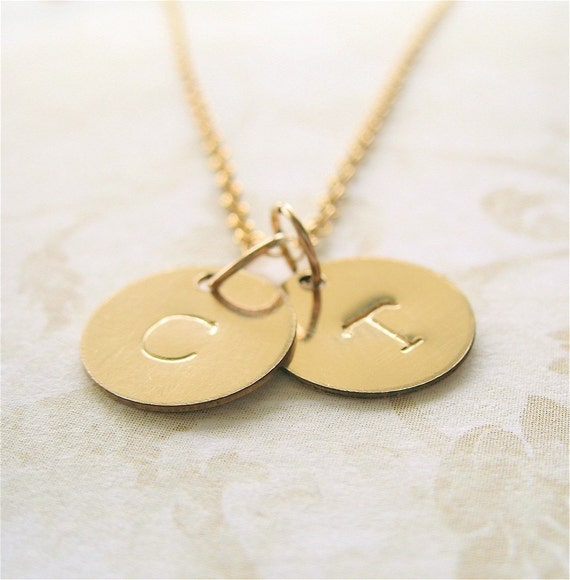 Double Initial Gold Filled Custom Personalized Necklace