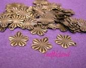 30pc antique bronze finish metal flower drop-481