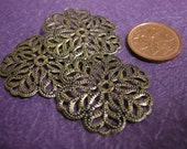 12pc antique bronze metal filigree center piece/wraps-1480