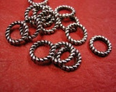 24pc 9.5mm antique silver metal ring-3640