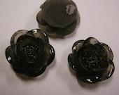 6pc 20mm pale black resin flower cabochon-4145