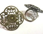 4pc antique bronze 32mm filigree ring setting-5081