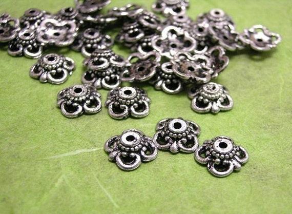 50 pc antique silver acrylic bead caps-1573