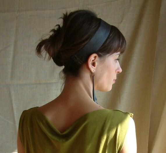 Black Leather 'Audrey Hepburn' Headband