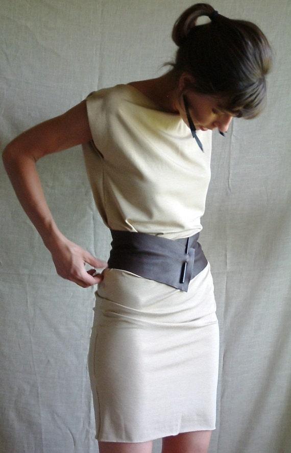 Wide leather belt fetish