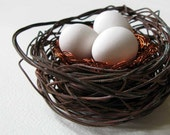 Wire bird nest with three plaster eggs for your home, handmade in Australia by kuber