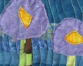 Mini Art Quilt, Fiber Art, Textile Art, Wall Art, Floral, Small Art Quilt