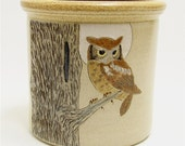 Owl and Moon Pottery Utensil Holder Limited Series 77 (wide)