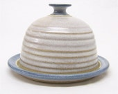 Butter Dish or Cheese Ball Server in Soft White and Blue