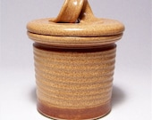 Lidded Pottery Jar (crock style) Warm Brown with Brown Stripe  (salsa relish candy)