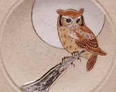 Owl and Moon 5 inch Pottery Spoon Rest rt