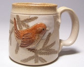 Wren Pottery Coffee Mug 10 ounce with pine branch Limited Series 172 (microwave safe)