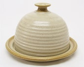 Butter Dish or Cheese Ball Server in Sand and Golden Tan
