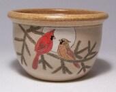 Cardinal Couple pottery Serving  Bowl 1qt Limited Series 6 (microwave safe)