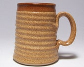 Warm Brown Pottery coffee Mug with a Brown Stripe (microwave safe)