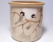 Black Capped Chickadees Pottery Utensil Holder Limited Series 51 (wide)