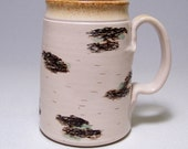 Birch Mega Coffee Mug Limited Series 186 on white stoneware (microwave safe) 24oz