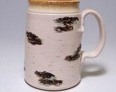 Birch Mega Coffee Mug Limited Series 186 on white stoneware (microwave safe) 24oz
