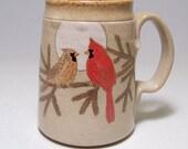 Looking For Love Cardinal Couple Pottery  Mega Mug Limited Series 45  SALE 24oz