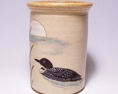Loon and Moon Pottery Utensil Holder and Vase Limited Series 134 (narrow)