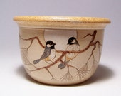 Black Capped Chickadees and Pine 1 quart Pottery Serving Bowl Limited Series 54