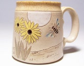 Bee and Flower Pottery Coffee  Mug Limited Series 176 (microwave safe) 12oz