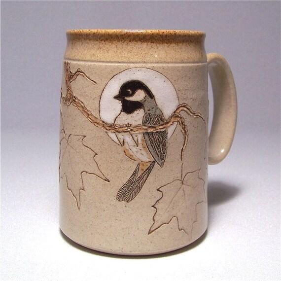Black Capped Chickadee and Maple Leaf  Mega Mug Ltd charming Series 70