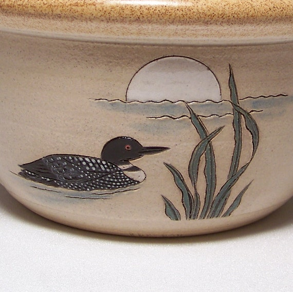 Loon and Moon Stoneware Serving Bowl 2quart Limited Series 132