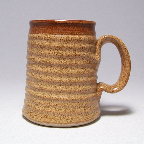 Warm Brown Pottery coffee Mug with a Brown Stripe (microwave safe)