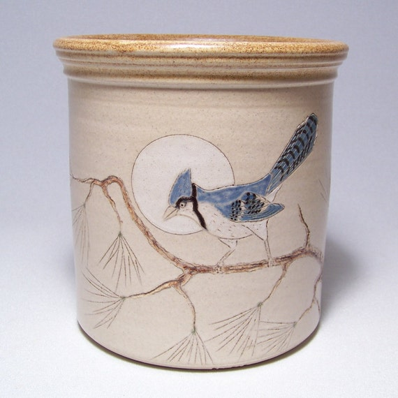 Blue Jay  Pottery Utensil Holder Limited Series 16 (wide)