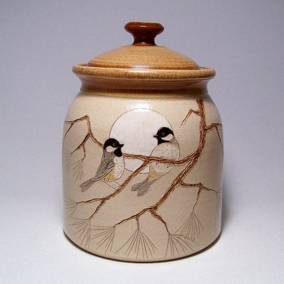 Black Capped Chickadees  Lidded Pottery Canister 3 quart Limited Series 53