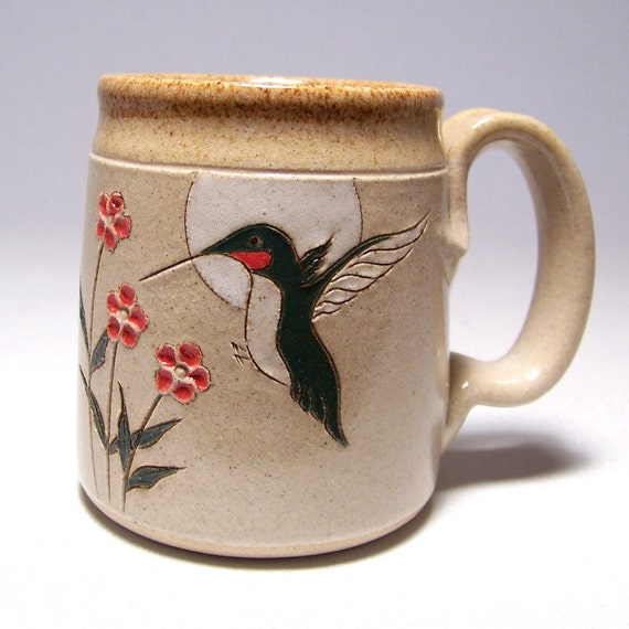 Ruby Throated Hummingbird  Pottery Coffee  Mug  Limited Series 122 microwavable 12 ounce