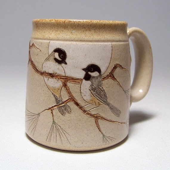Black Capped Chickadees and Pine Coffee Mug Limited Series 107 (12 ounce)