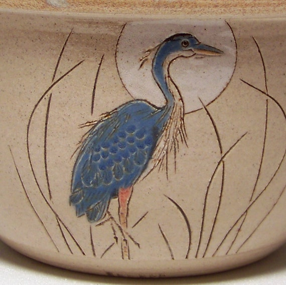 Great Blue Heron 1 quart Pottery Serving Bowl Limited Series 88