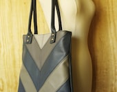 Shades of Gray Chevron Faux Leather Tote Bag - READY TO SHIP