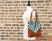 Zebra Chevron Tote - Faux Leather