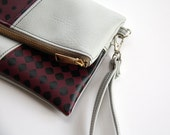 Fold-over Wristlet Clutch - Faux Leather in Gray and Berry