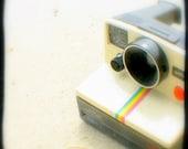 One Step Polaroid Camera Photo 5x5 TtV Photography Print Nostalgic Summer Retro Camera Photograph Home Decor Art Print, Rainbow Stripe