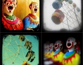 Carnival Photo Print Set 5x5 Circus Clown Photos Ferris Wheel Photos Summer Fair Red Turquoise Yellow Kids Room Art TtV Color Photography